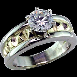 .98 ct Diamond Two Tone 14 Karat Solitaire Ring