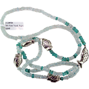 Aquamarine & Apatite Sterling Silver Fish Necklace