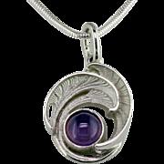 Holly Blue Agate Art Nouveau Style Silver Pendant