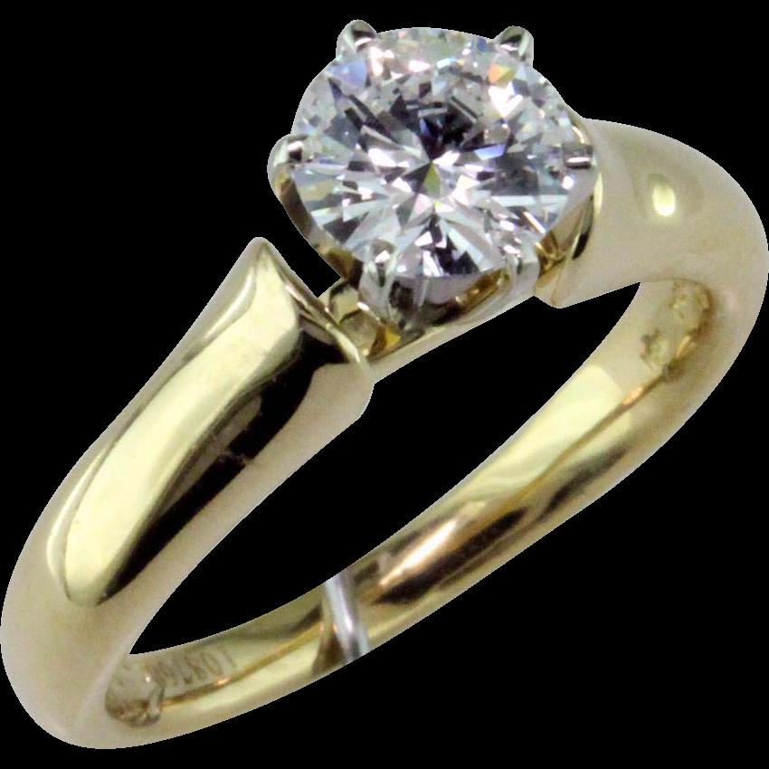 1 Ct D Internally Flawless Diamond 18 Karat Gold Solitaire