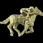 Racehorse & Jockey 18K Pin