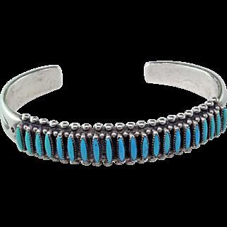 Zuni Needle Point Turquoise Sterling Bracelet