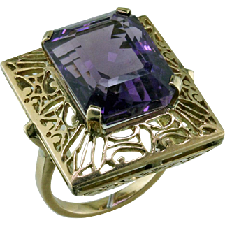 Big and Bold Amethyst Filigree 14 Karat Ring