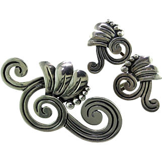 Magnificent Sterling Silver Brooch & Earrings by Maricela of Taxco