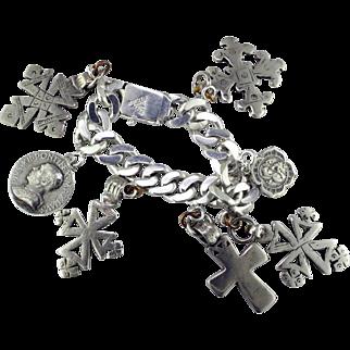 Taxco Sterling Silver Heavy Charm Bracelet