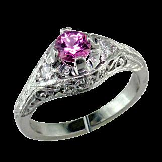 Platinum Filigree Engagement Ring with Pink Sapphire & Diamond