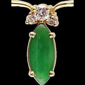 Imperial Jadeite & Diamond 14 Karat gold necklace
