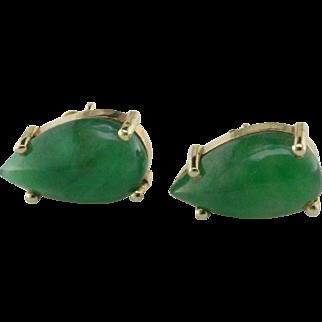Imperial Jadeite Jade 14 Karat Gold Earrings