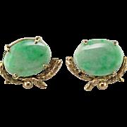 Apple Green Jadeite & 10 Karat Gold Earrings