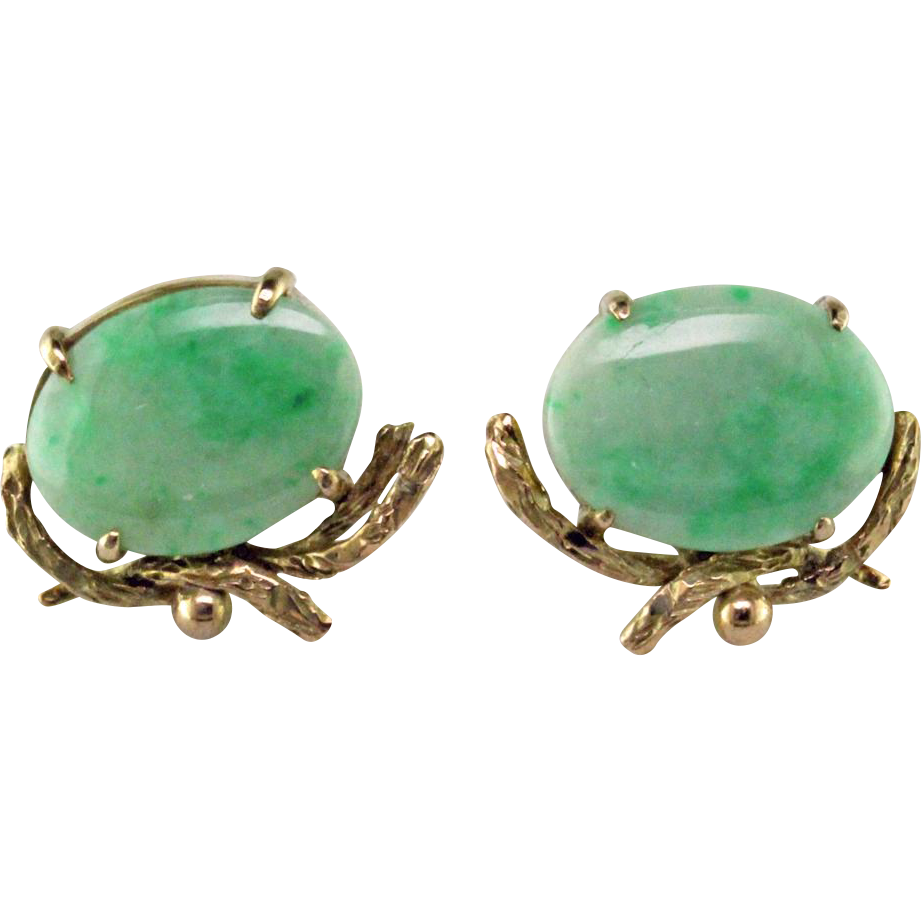 Apple Green Jadeite & 10 Karat Gold Earrings