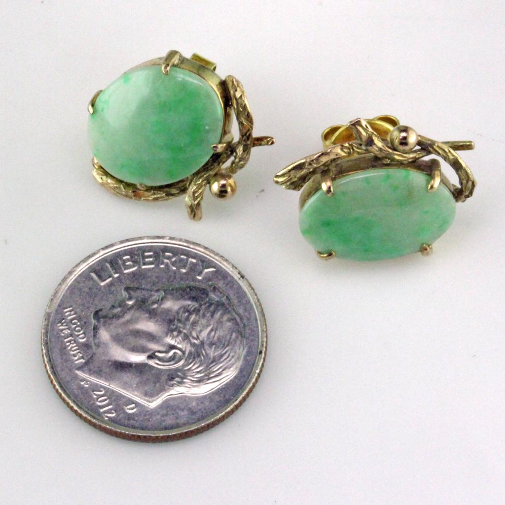 Roll Over Large Image To Magnify, Click Large Image To Zoom Change  Background Expand Description Description: Jadeite & 10 Karat Gold  Earrings