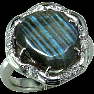Labradorite & Diam 14 Karat  Ring