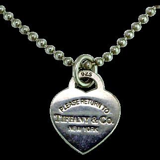 Tiffany Heart Dog Tag Necklace