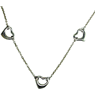 Elsa Peretti Floating Heart Silver Necklace by Tiffany