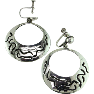 Striking Taxco Sterling Silver Hoops