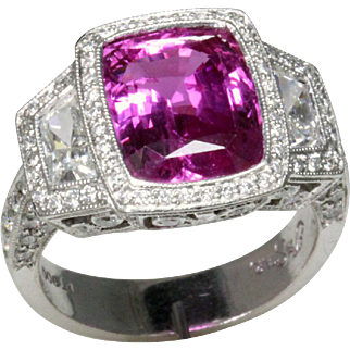 Fabulous Fancy Pink Sapphire Diamond and Platinum Ring by JB Star