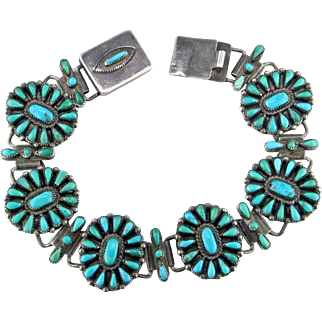 Zuni Needle Point Flowers Sterling Silver Bracelet