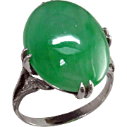 Art Deco Jadeite Platinum Ring