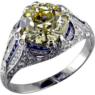 Magnificent Edwardian 3 ct Fancy Yellow Diamond & Platinum Ring