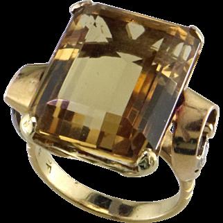 Retro 18K Yellow & White Gold Citrine Ring