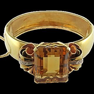 Retro Citrine 18K Yellow and White Gold Bracelet