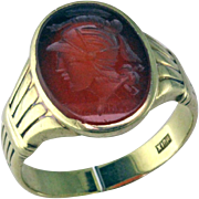 Art Deco Carnelian Intaglio 10K Ring