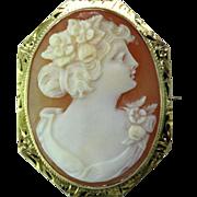 Art Deco 10 K Gold Shell Cameo Pendant/Brooch