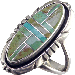 Turquoise Inlay Sterling Silver Ring by Denni