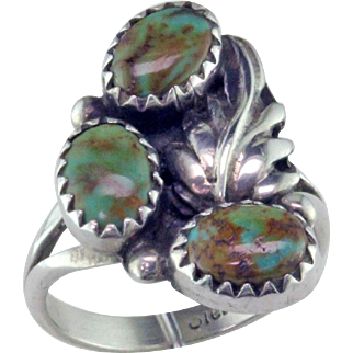 Native American 3 Stone Turquoise Sterling Silver Ring