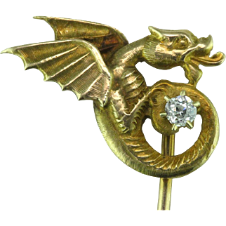 Art Nouveau 14 Karat Gold & Diamond Dragon Stick Pin