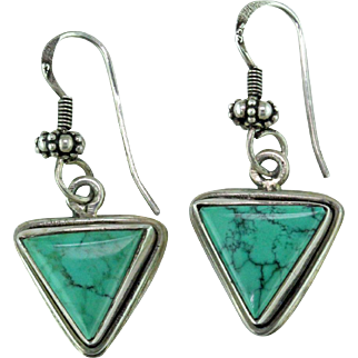 Spiderweb Turquoise & Sterling Silver Earrings
