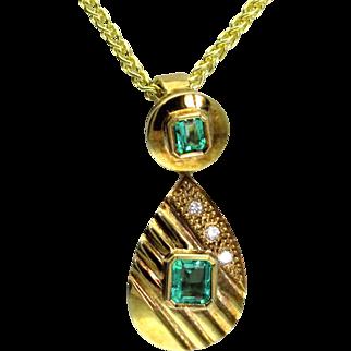 Emerald & Diamond 14 Karat Pendant