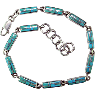 Zuni Turquoise Inlay & Sterling Silver Bracelet