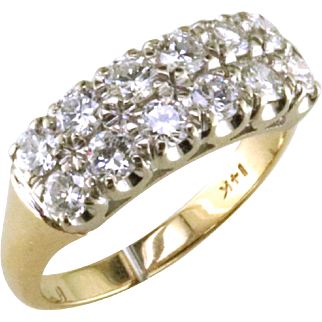 14K Double Row Diamond Band
