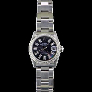 Rolex DateJust Diamond Black Pearl 18 Karat & Stainless Steel Wristwatch