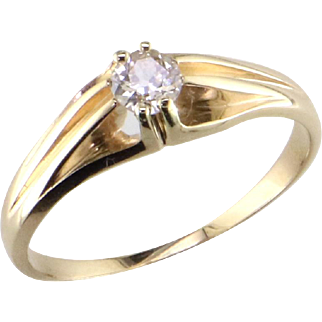 Antique 14K Diamond Solitaire