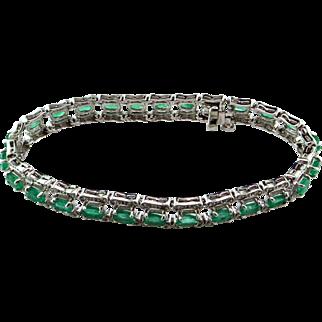 Emerald & Diamond 14 Karat Bracelet