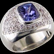 Tanzanite and Diamond 14K White Gold Ring