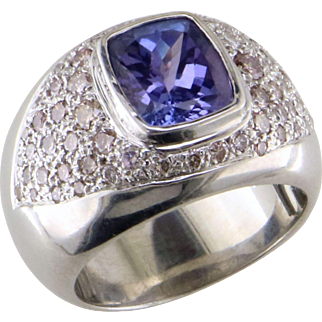 Tanzanite and Diamond 14K White Gold Ring