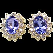 Tanzanite and Diamond 14K Halo Earrings