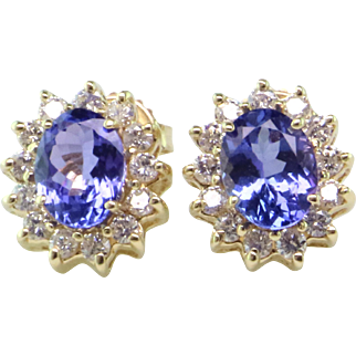 Tanzanite and Diamond 14K Halo Earrings