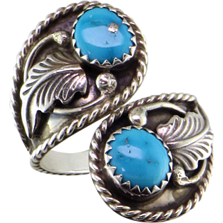 Native American Turquoise Sterling Silver Bypass Ring