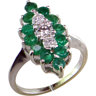 Long Emerald and Diamond 14K Ring