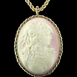 Victorian Big Pink Cameo 14K Gold Pendant