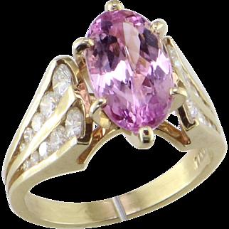Natural Color Juicy Pink Topaz & Diamond 14K Ring