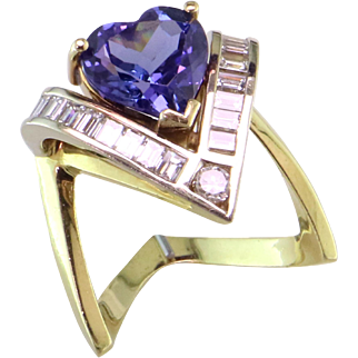 Luscious Tanzanite Heart and Baguette Diamond 14K Ring