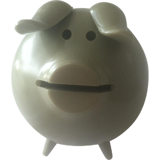 Sterling Silver and Melamine Piggy Bank, Mid Century Modern