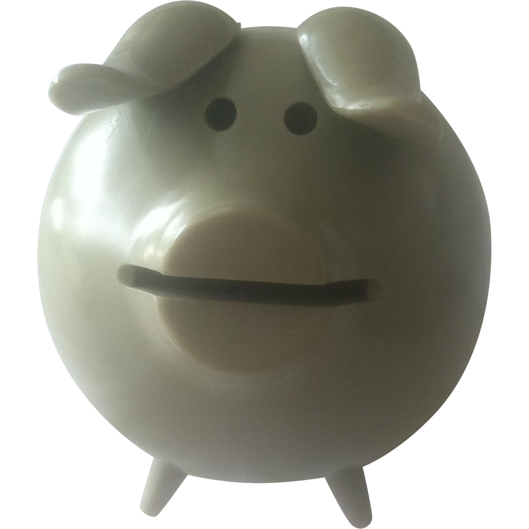 Sterling Silver And Melamine Piggy Bank Mid Century