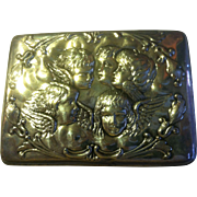 "Sterling Silver ""Circling Cherub"" Jewelry Casket/Box from Chester, England - 1902"