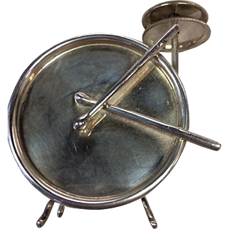 Sterling Spice Box in the Shape of a Full Figural Drum with 2 Cymbals